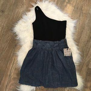 Zara Trf 1 Shoulder Denim Dress